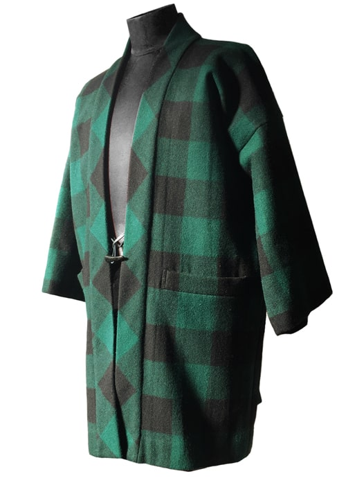 Wool Happi Jacket Green x Black Buffalo Check