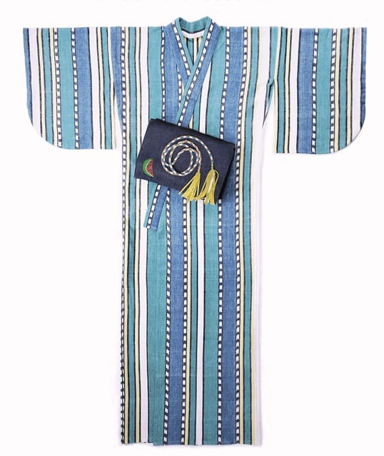 Yukata The One and Only Eggplant Set Blue Cotton Dec0Eight